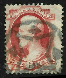 """Sc #148 """"NYFM-4"""" Fancy Cancel SON 6 Cent Lincoln Banknote 1871-1875 US 80B33"""