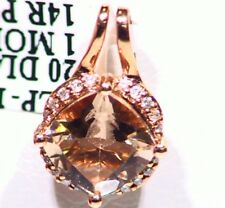 1.25CT 14K Gold Natural Morganite Cut White Diamond Vintage Engagement Necklace