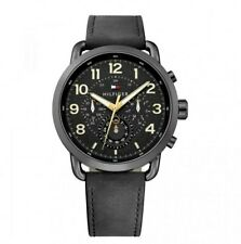 Brand New Tommy hilfiger Mens Watch 1791426 Analogue Multifunction Leather Black