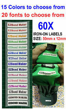 60x Colour Font Iron-on Name Labels Tags Printed