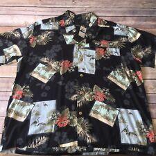 Hawaiian Aloha Men's Short Sleeve Shirt Sz XL Flowers Palms Manhattan NWT Beach