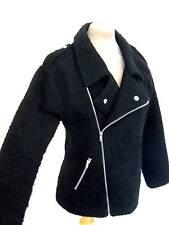 black Boucle textured wool effect Zip up Pocket biker coat jacket 8 10 12 Grunge