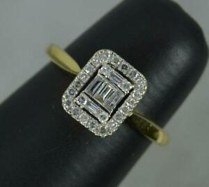 Art Deco Design Natural Diamond 18ct Gold Cluster Ring