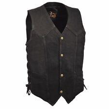 Men's Classic Snap Front Side Lace Denim Vest W/ Gun Pocket-DM1315 (BLACK)(BLUE)