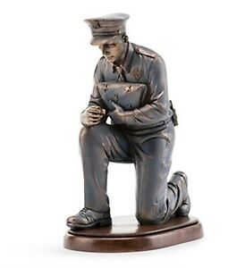 Praying Police Officer Statue Bronze Kneeling Policeman Memorial Figurine