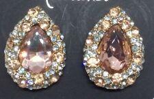 Gold & Champagne  Drop Crystal Diamante Diamond Stud Earrings