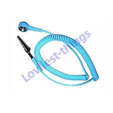 ESD Antiestática Correa De Muñeca Cuerda en espiral 10 Mm Perno De banana/croc Azul