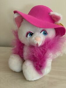 """Vintage Russ Berrie Plush White Cat Margaux 7"""" with Pink Hat and Boa"""