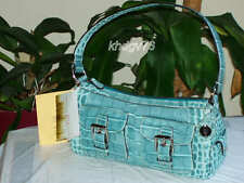 New With Tags Authentic Dooney & Bourke Nile Croco Pocket Sea Foam Bag $335