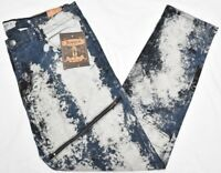 Akademiks Jeans Men's Splash Marble Wash Zipper Moto Stretch Denim Urban N906