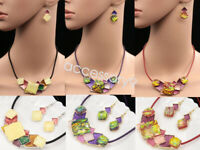 square lucite color enamel collar leather necklace drop earrings set jewelry K39