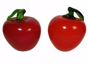 Art Glass Red Apples Fruit Set of 2 Green Stem and Leaf, Slightly Different Vntg