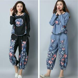 Chinese Style Womens Retro Linen Floral T-Shirts Bloomers Pants Loose 2Pcs Suits
