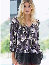 Together @ Kaleidoscope Size 14 Grey Lilac Floral Print Lace Trim TOP Blouse £55