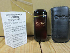 Vintage Carlton Super Windproof C2 Lighter with Leather Sleeve and Instructions