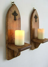 PAIR OF 30CM RECYCLED PALLET WOOD GOTHIC ARCH  RUSTIC BRONZE CROSS WALL SCONCES