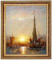 Ölbild, Segelschiffe im Hafen,Meer Sonnenuntergang HANDGEMALT Gemälde F: 50x60cm