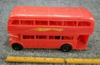 "VINTAGE PLASTIC LONDON DOUBLE DECKER BUS MADE IN ENGLAND RED 9 "" LONG"