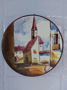 Vintage Pair of Spanish Decorative Wall Plates 15cm Diameter Village & Church