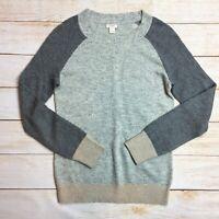 J Crew Factory Womens Merino Wool Blend Colorblock Sweater Waffleknit Grey Sz S