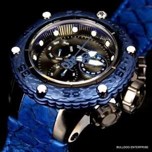 Invicta Subaqua Noma VI SAN 6 Blue Chronograph Leather Swiss Movt 51mm Watch New