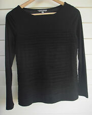 Suzanne Grae Women's Black Long-Sleeve Top with Fabric Strips across Front -Sz S