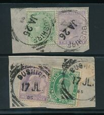 INDIA USED in BUSHIRE QV + KE7 2a + 1/2a COMBINATION on PIECE 1903 + 1905