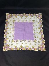 "Floral Handkerchief Vintage Kerchief Cloth Decor 12"" Pink Yellow Violet Flowers"