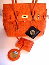 WOMENS ITALIAN CHIOCCIOLA CROCODILE BURT ORANGE HAND BAG NEW
