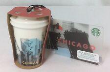 Starbucks Chicago Christmas Ornament Ceramic Skyline To Go Cup 2015 & Gift Card