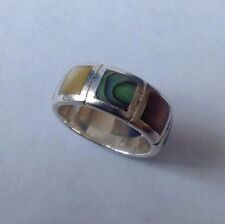 Solid Silver Abalone Shell & Multi Coloured Mother Of Pearl Ring UK Size S USA 9
