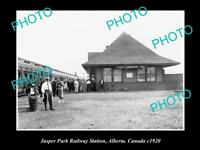OLD LARGE HISTORIC PHOTO OF JASPER CANADA, THE JASPER PARK RAILWAY STATION c1920