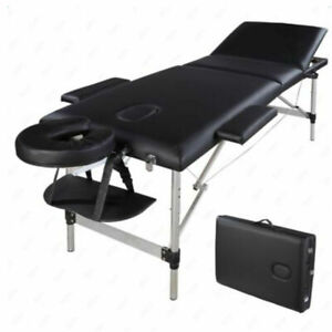 3 Sections Folding Aluminum Tube SPA Bodybuilding Massage Table Kit Black
