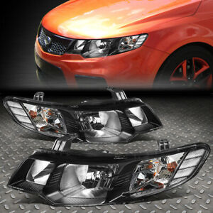 FOR 10-13 FORTE KOUP CHROME HOUSING CLEAR CORNER HEADLIGHT REPLACEMENT HEAD LAMP