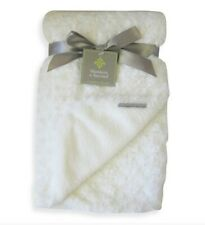 Blankets and Beyond Baby Blanket White Rosette Swirls and Plush Back Luxurious