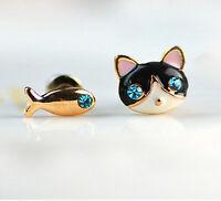 Lovely Enamel Fish Cat Crystal Ear Stud Clip Earrings Women Fashion Jewelry Gift