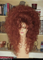 SIN CITY WIGS RED HOT BIG SEXY HAIR VOLUME TEASED CURLY CURLS THICK GLAM DRAG