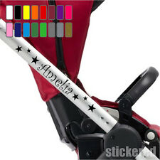 2 x PERSONALISED NAME STICKERS + STARS FOR BABY PRAM PUSHCHAIR STROLLER BUGGY