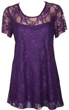 Womens Ladies Plus Size Short Sleeve Floral Lace Top Dress 14 16 20 22 24 26