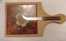 cheese board ceramic tile in wood with cheese cutter very retro