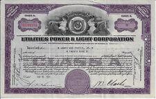 Virginia 1933 Utilities Power & Light Corporation Stock Certificate Abn