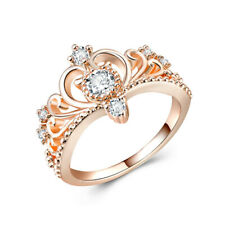Ring Women Cubic Zirconia Size 6-10 Elegant Crown Shaped Rose Gold Wedding Party