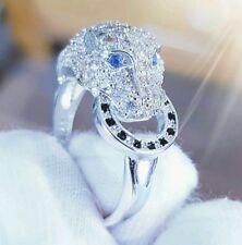 Edelstein Ring Damen Solitär 925 Silber Leopard Katze Gothic Zirkonia Verlobung