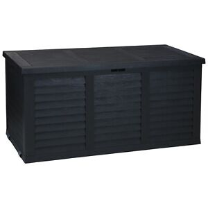 380L Large Outdoor Cargo Garden Storage Roller Box Plastic Container Chest Lid