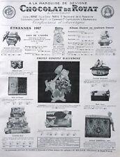 PUBLICITÉ DE PRESSE 1906 CHOCOLAT DE ROYAT A LA MARQUISE DE SÉVIGNÉ A.ROUZAUD