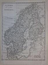 1833 MAP SVEZIA NORVEGIA DANIMARCA Cacciatore Scandinavia Sverige Norge Danmark