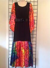 Kerry Damiano Designer Medium Tunic Belted Maxi Dress NWT $195 Black & Colorful