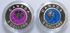 2 Piece Lot 2012 $5 Ster Silver Pink April Full Moon Wolf Full Moon Canada Coin