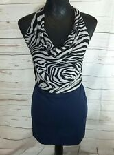Otto Mode Womens Dress UK 12 Navy Black Animal Print Cowl Neck Backless rrp £75