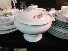 """Haviland & Co. Limoges Moss Rose Blue Trim Covered 9"""" Footed Vegetable Bowl"""